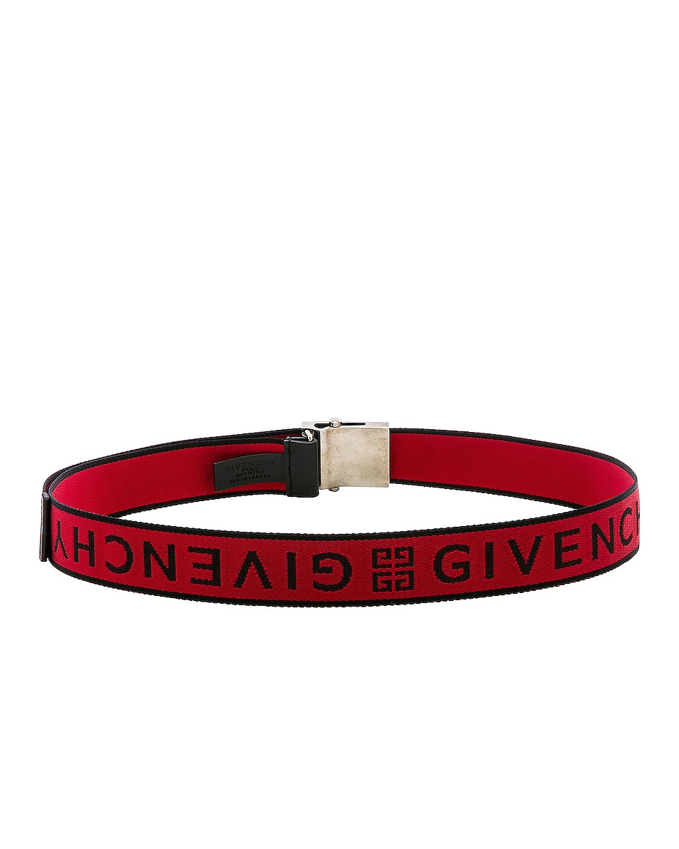 Image 3 of Givenchy Plate Buckle Belt in Black & Red