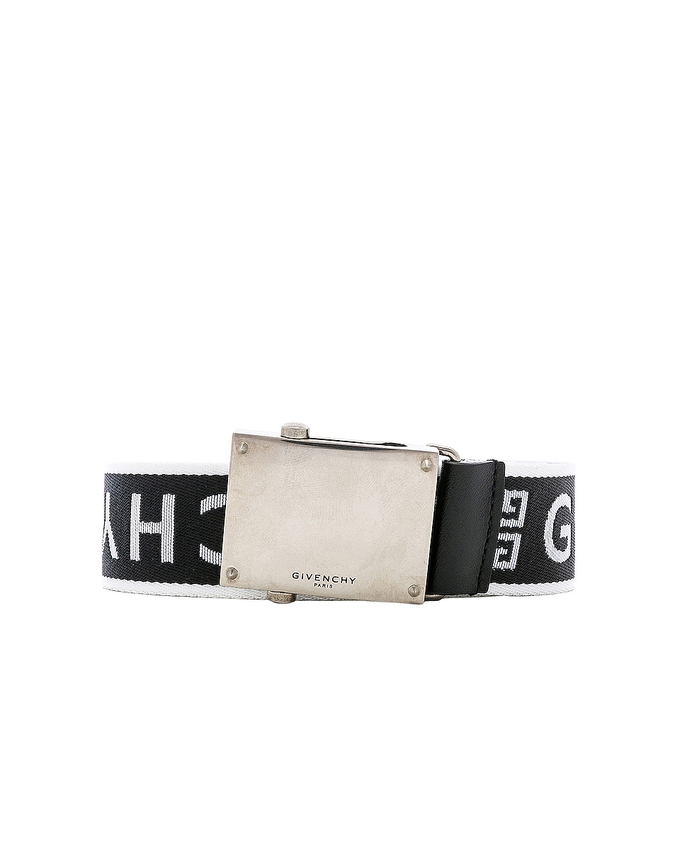 Image 1 of Givenchy Plate Buckle Belt in Black & White