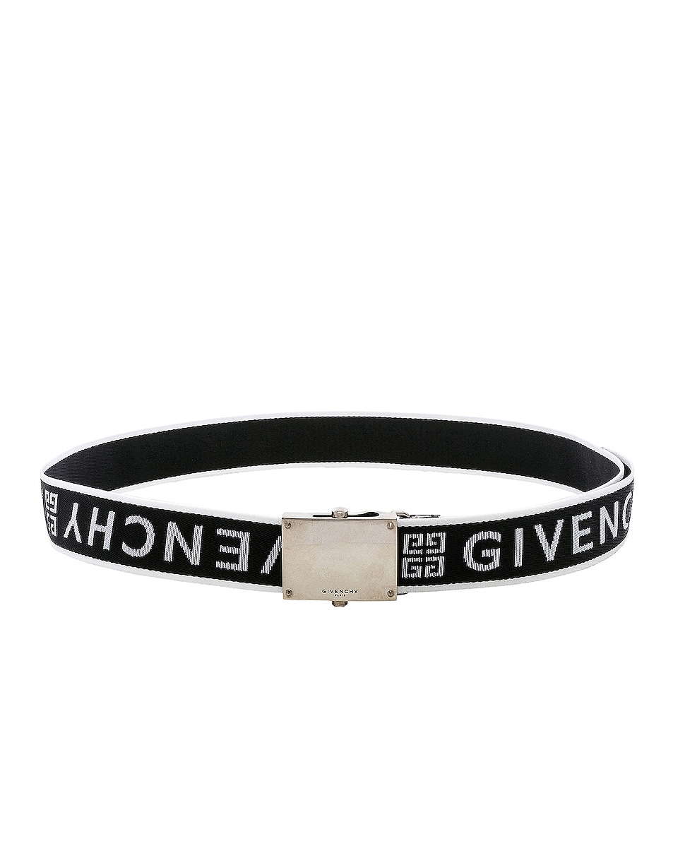 Image 2 of Givenchy Plate Buckle Belt in Black & White