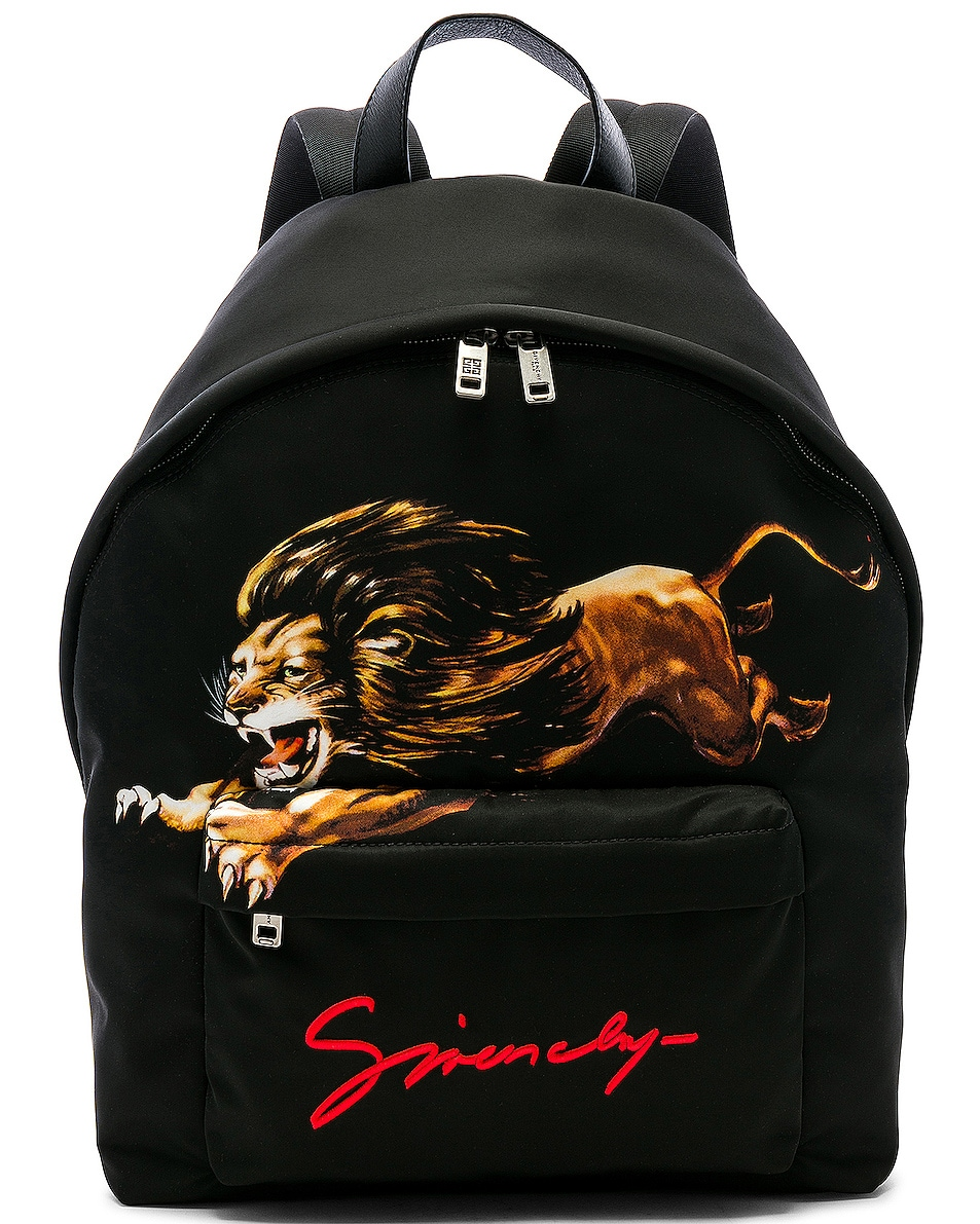 76b8773b4b18 Image 1 of Givenchy Lion Print Backpack in Multi