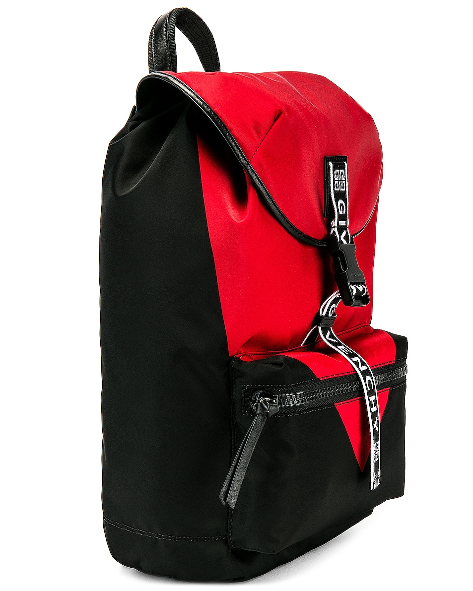 Image 3 of Givenchy Logo Webbing Backpack in Black & Red