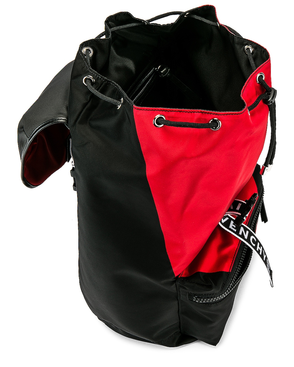 Image 4 of Givenchy Logo Webbing Backpack in Black & Red