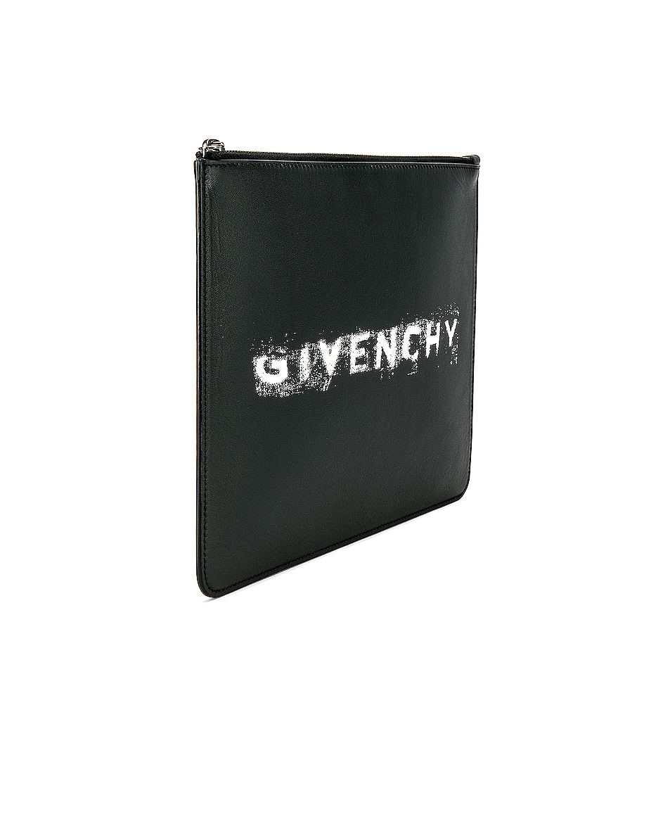 Image 3 of Givenchy Fading Logo Large Pouch in Black & White