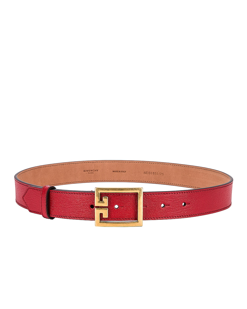 Image 2 of Givenchy Logo Buckle Belt in Vermillion
