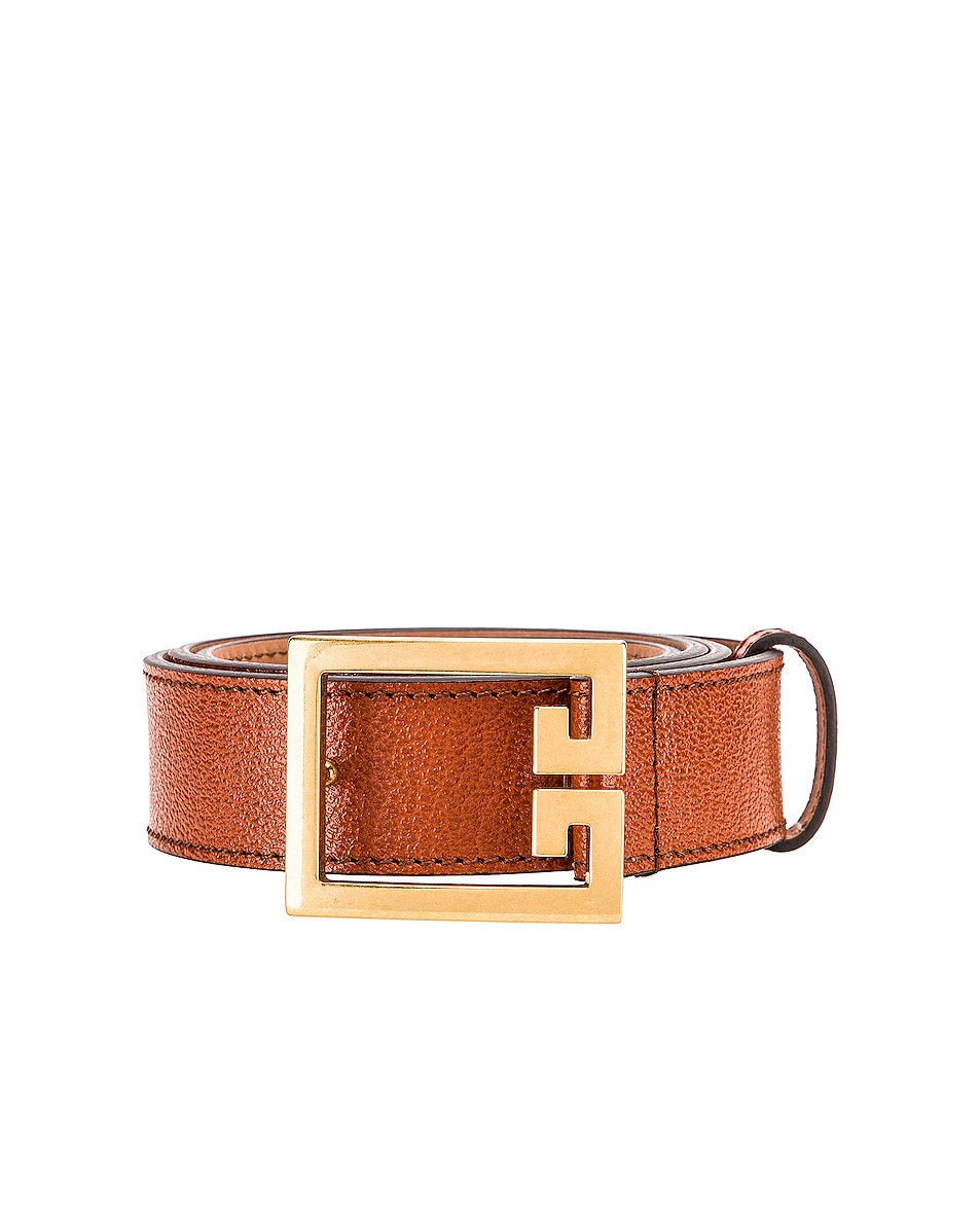 Image 1 of Givenchy Flat Grained Logo Leather Belt in Chestnut