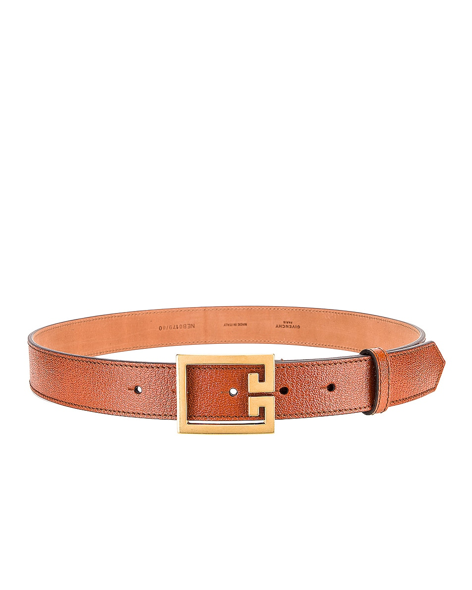 Image 2 of Givenchy Flat Grained Logo Leather Belt in Chestnut