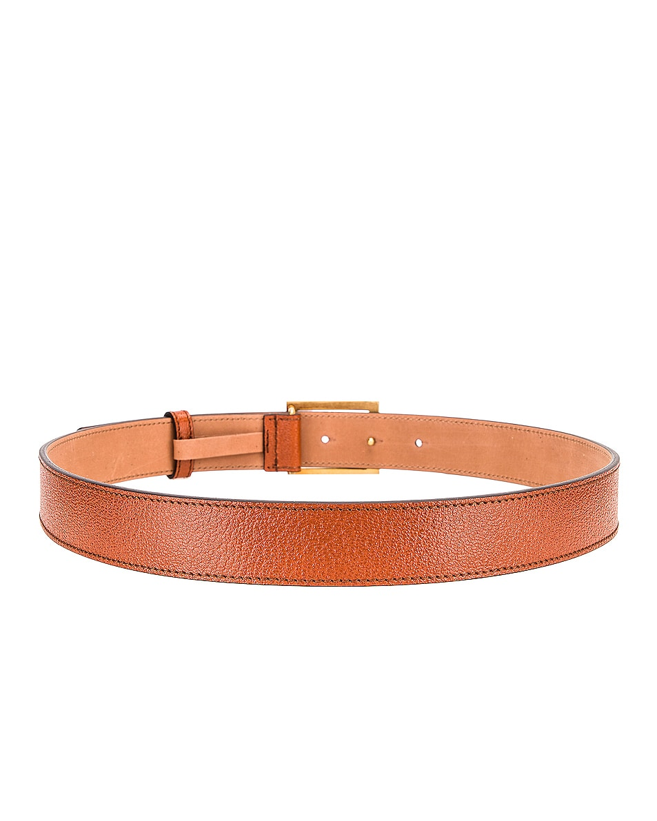 Image 3 of Givenchy Flat Grained Logo Leather Belt in Chestnut