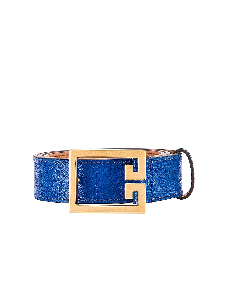 Image 1 of Givenchy Flat Grained Logo Leather Belt in Persian Blue
