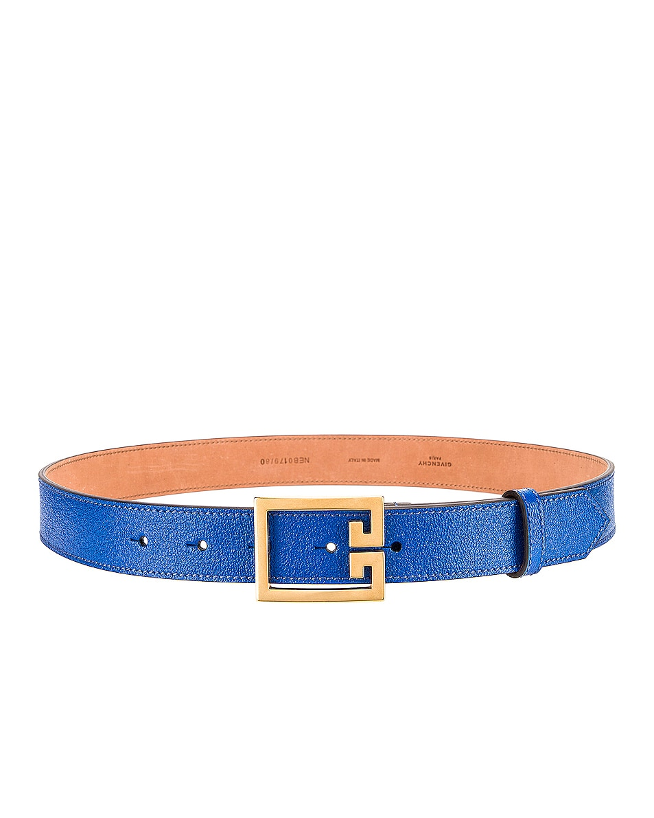 Image 2 of Givenchy Flat Grained Logo Leather Belt in Persian Blue