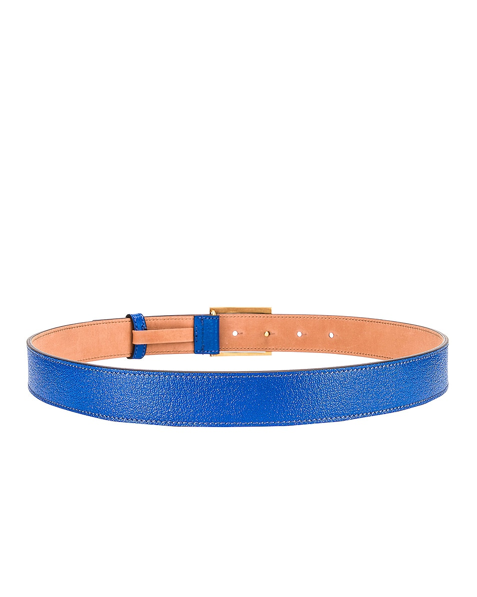 Image 3 of Givenchy Flat Grained Logo Leather Belt in Persian Blue