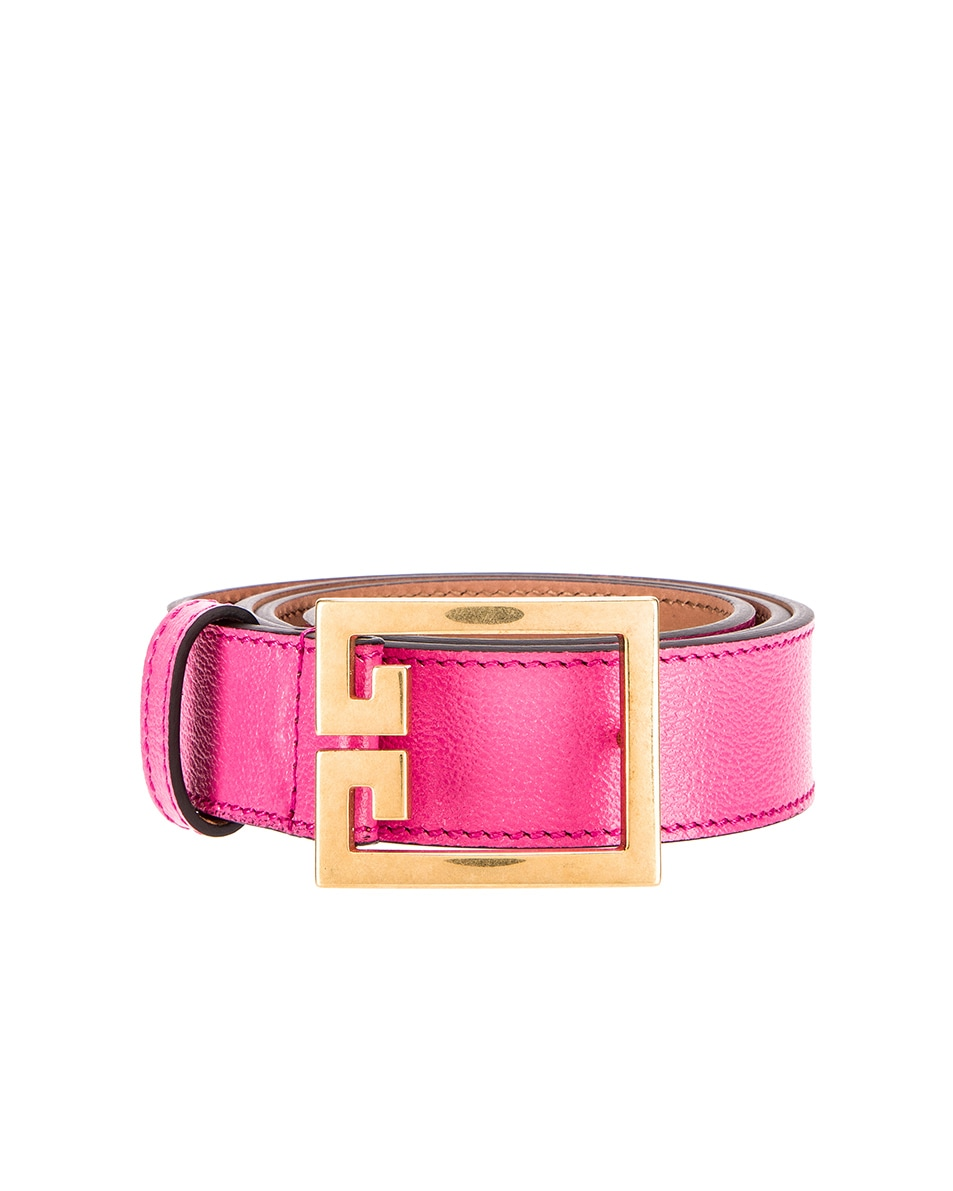 Image 1 of Givenchy Flat Grained Logo Leather Belt in Sorbet Pink