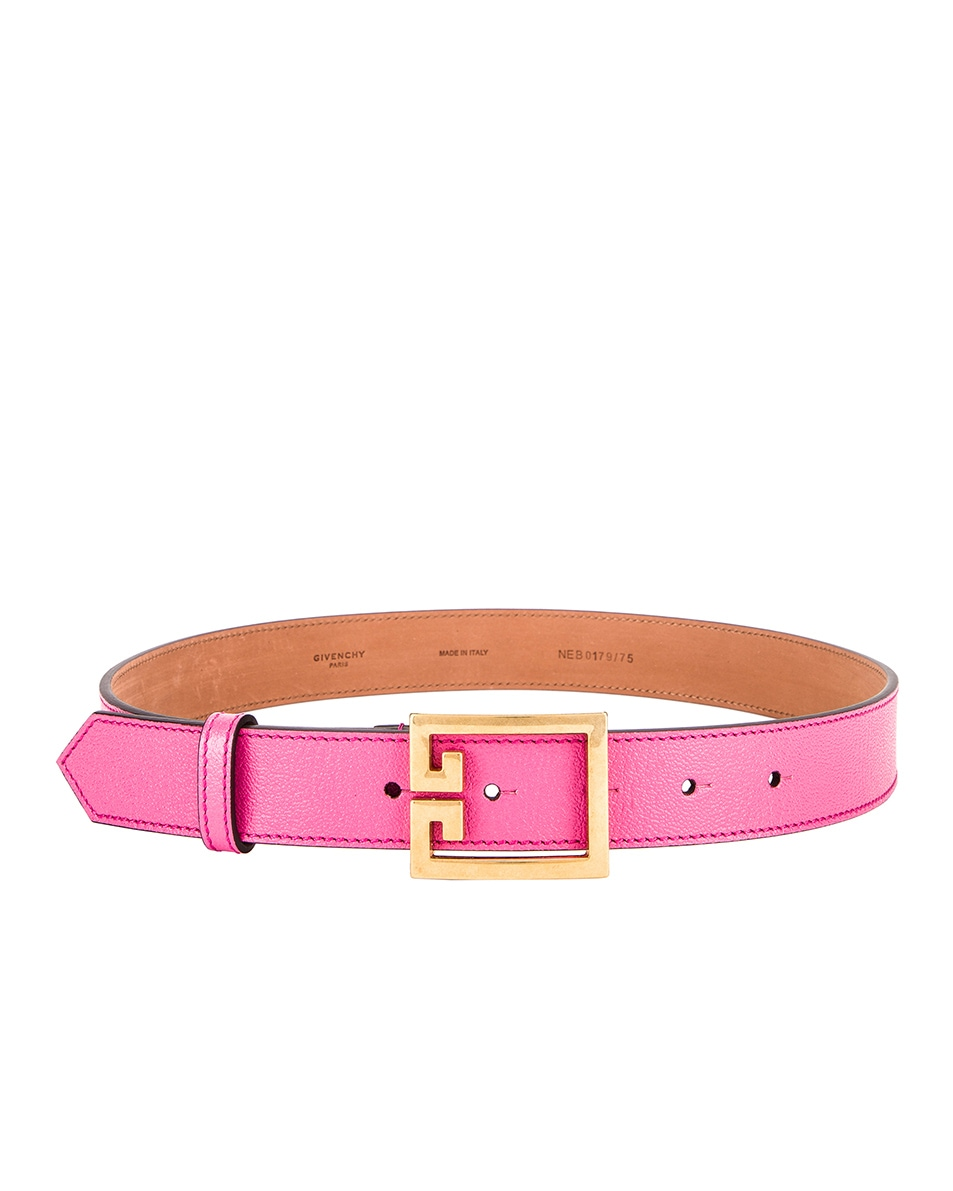 Image 2 of Givenchy Flat Grained Logo Leather Belt in Sorbet Pink