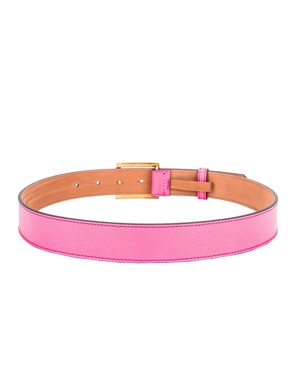 Image 3 of Givenchy Flat Grained Logo Leather Belt in Sorbet Pink