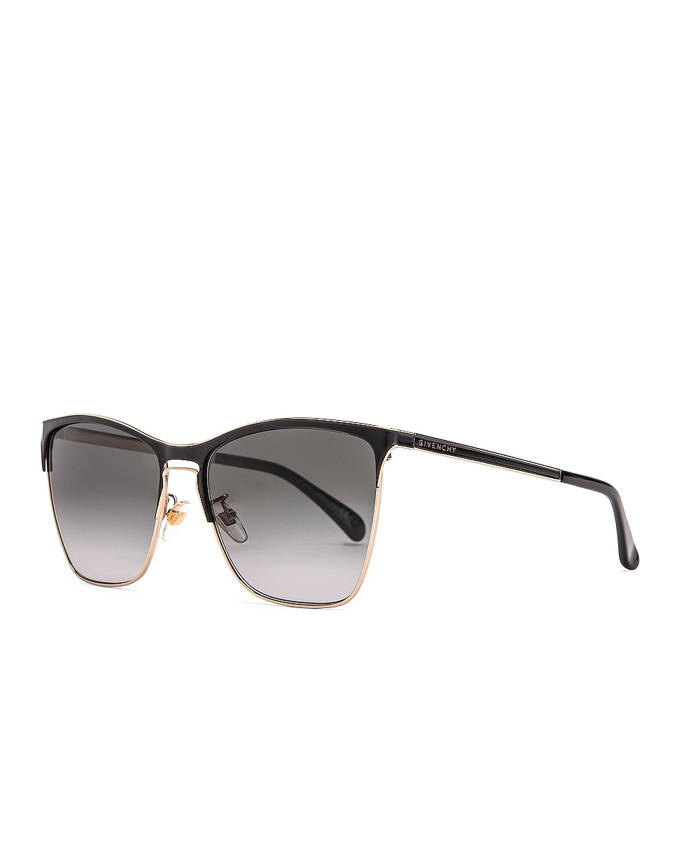 Image 2 of Givenchy Metal Square Sunglasses in Black & Gold