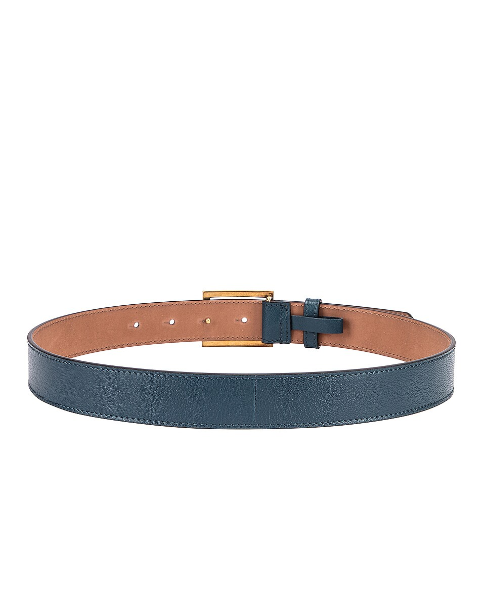 Image 3 of Givenchy GV3 Leather Buckle Belt in Oil Blue