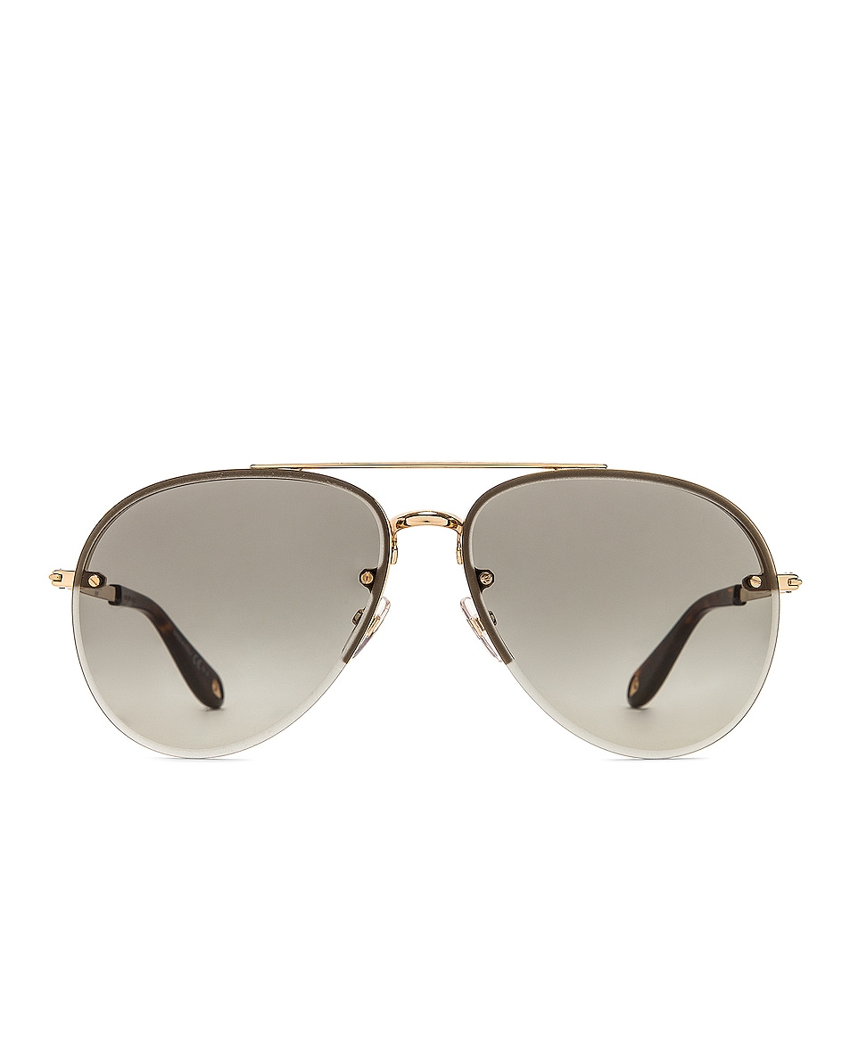 Image 1 of Givenchy Metal Aviator Sunglasses in Gold & Dark Grey Gradient