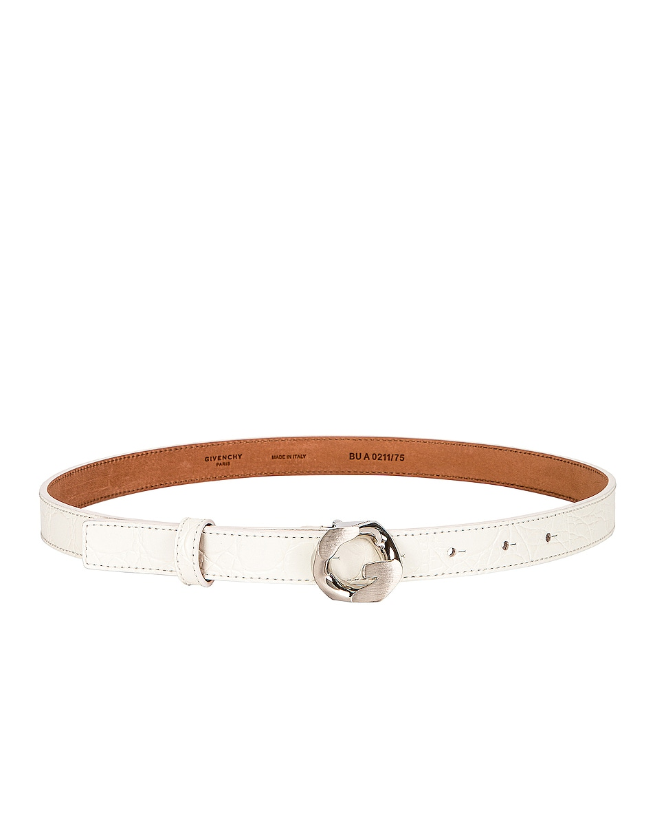 Image 1 of Givenchy G Chain Embossed Croc Buckle Belt in Ivory