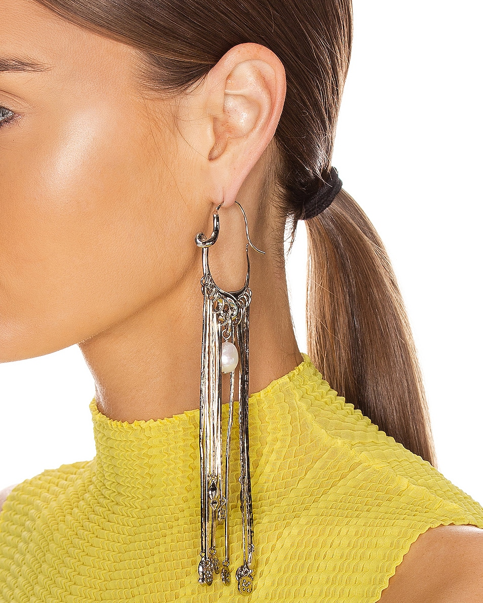 Image 2 of Givenchy Moon Earrings in Silver
