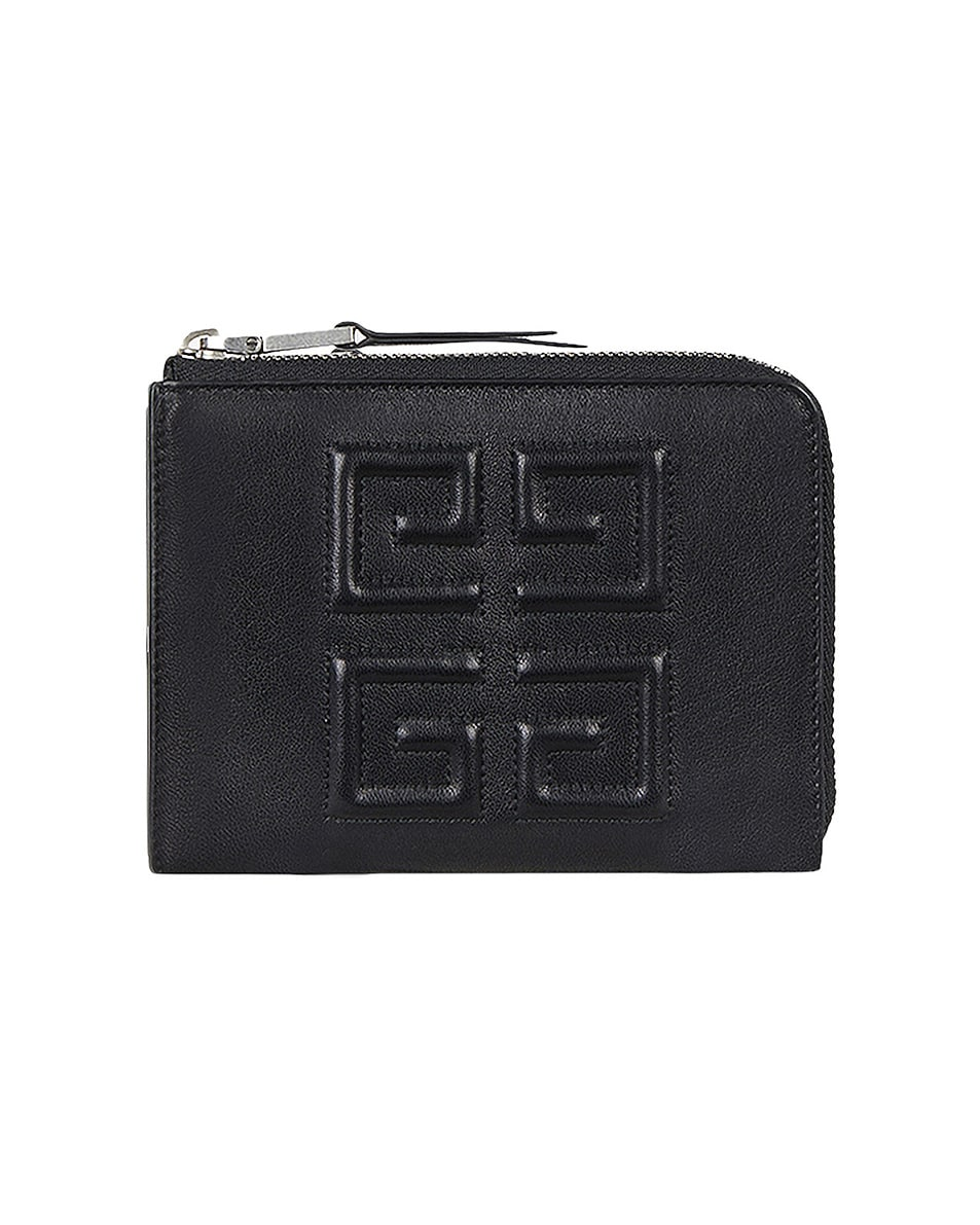Image 1 of Givenchy Medium Emblem Zip Wallet in Black