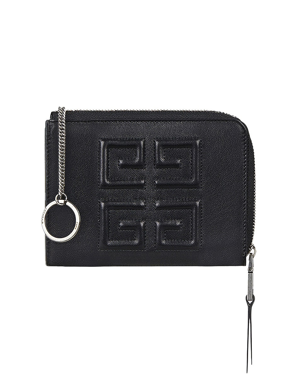 Image 5 of Givenchy Medium Emblem Zip Wallet in Black