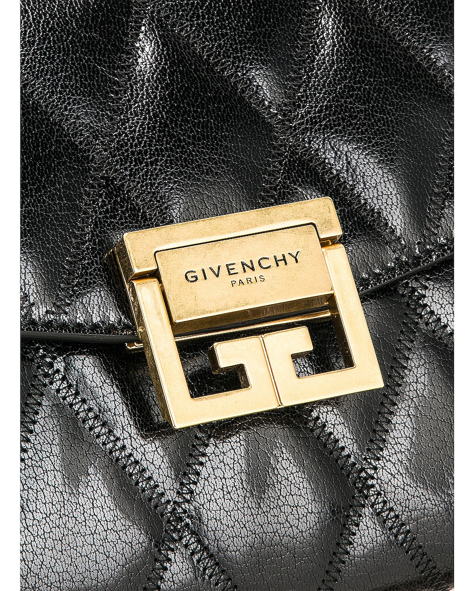 Image 8 of Givenchy Small Quilted Leather GV3 in Black