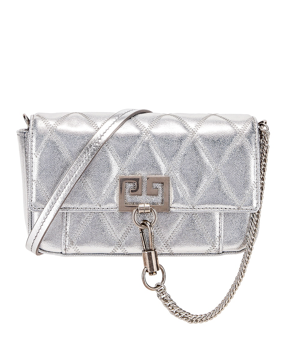 Image 1 of Givenchy Metallic Mini Pocket Chain Bag in Silver