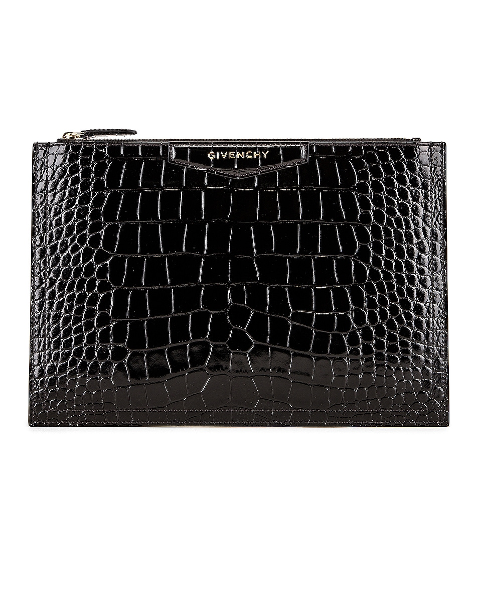 Image 1 of Givenchy Medium Crocodile Embossed Antigona Pouch in Black