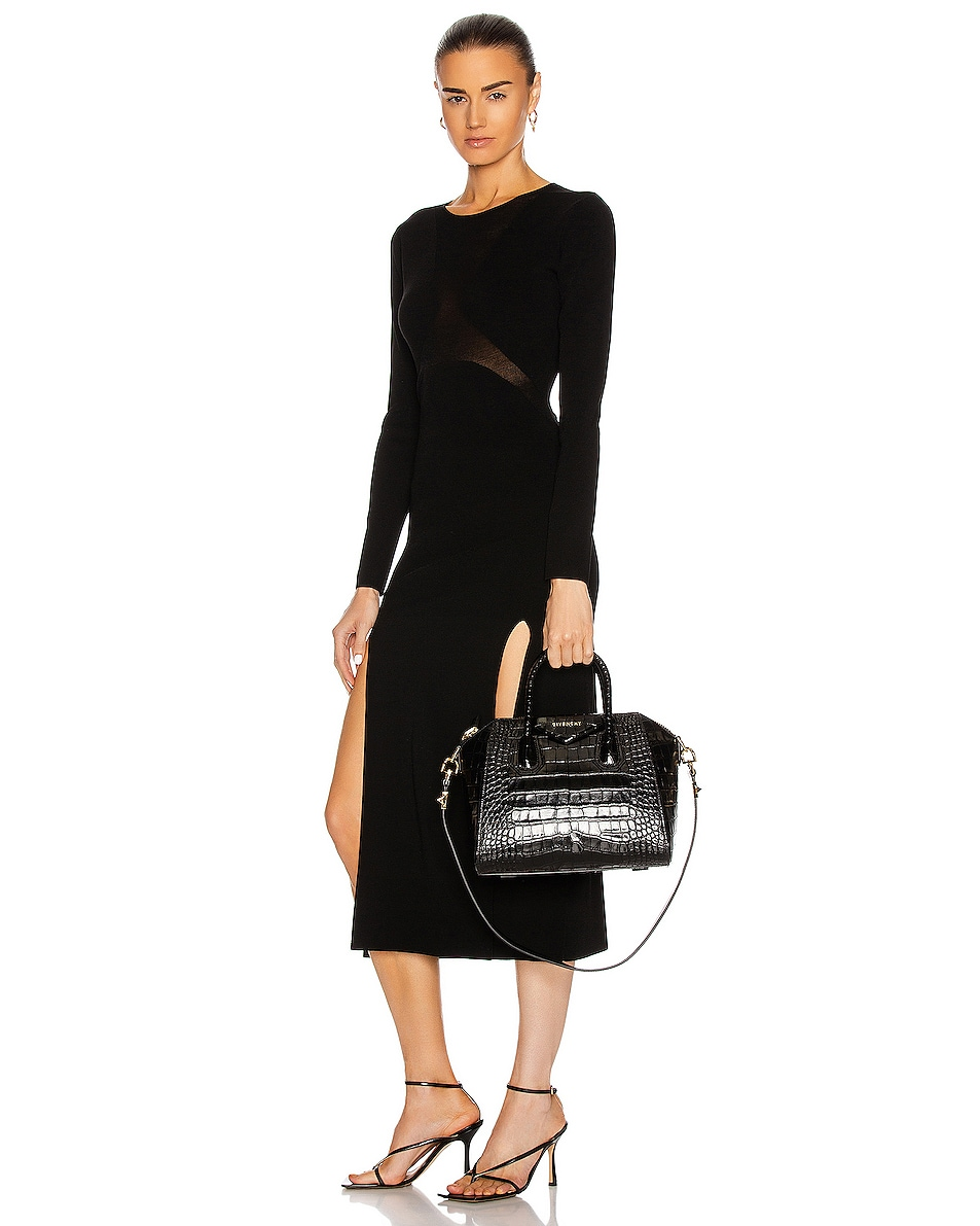 Image 2 of Givenchy Small Crocodile Embossed Antigona in Black