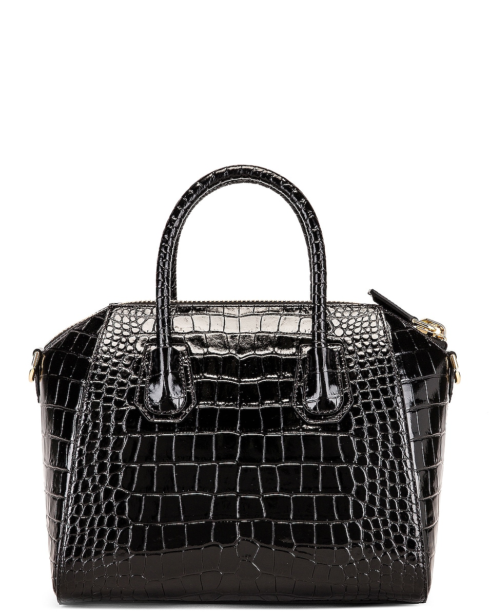 Image 3 of Givenchy Small Crocodile Embossed Antigona in Black