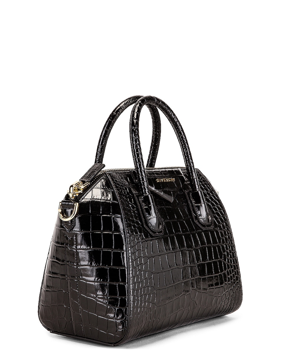 Image 4 of Givenchy Small Crocodile Embossed Antigona in Black