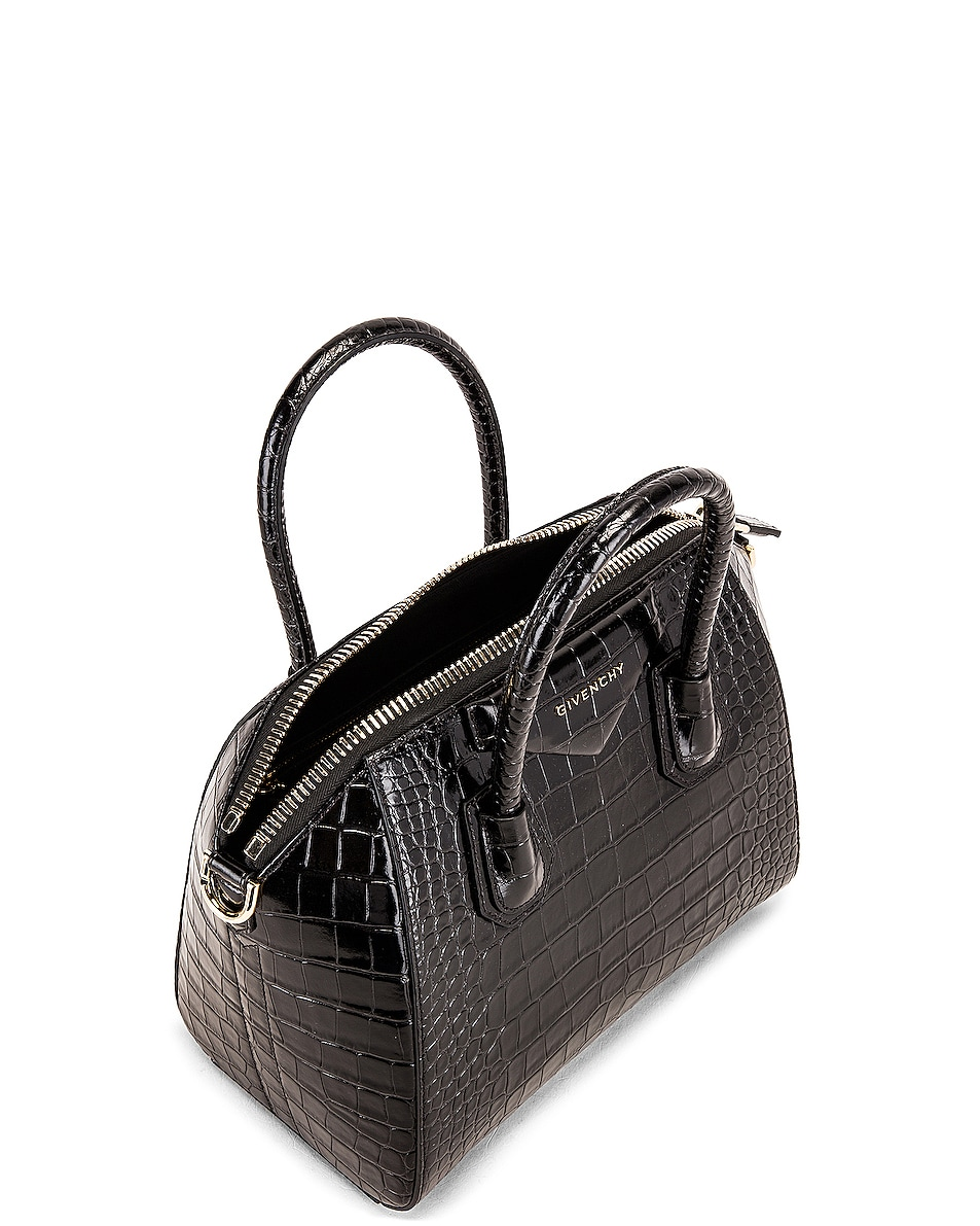 Image 5 of Givenchy Small Crocodile Embossed Antigona in Black