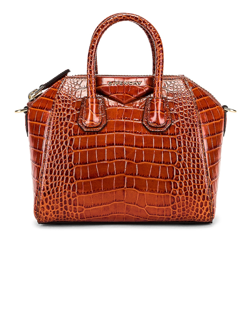 Image 1 of Givenchy Mini Crocodile Embossed Antigona in Cognac