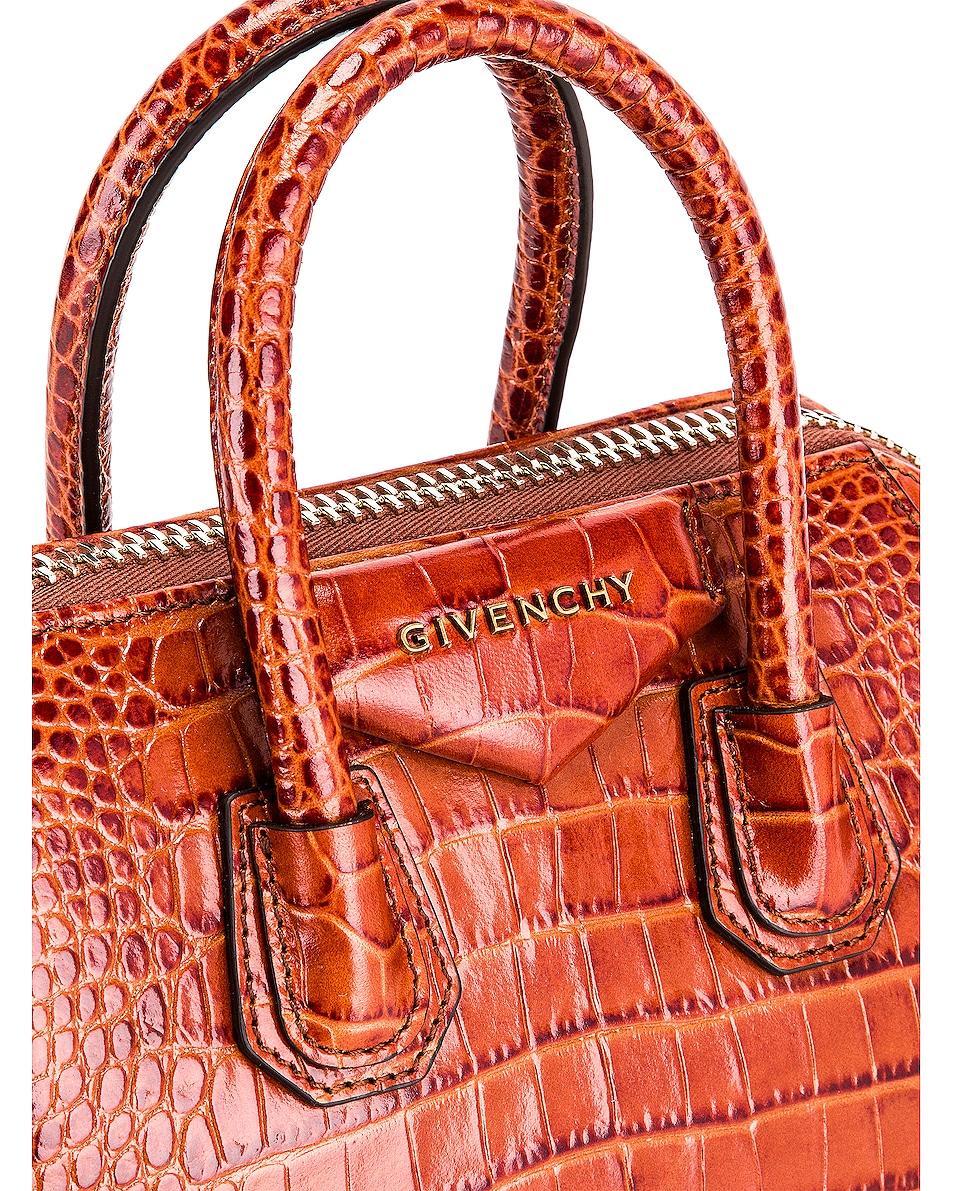 Image 7 of Givenchy Mini Crocodile Embossed Antigona in Cognac