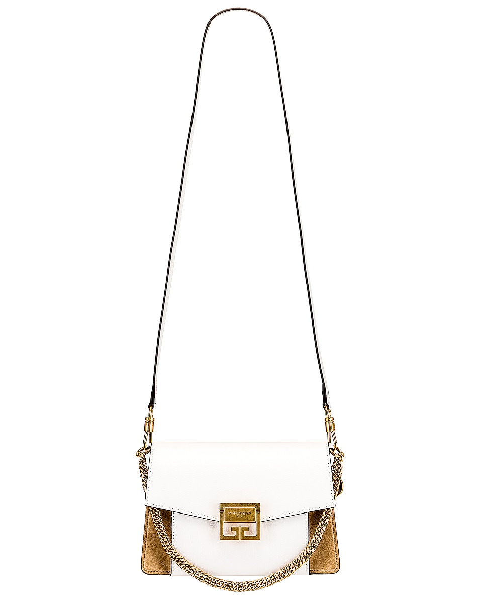 Image 6 of Givenchy Small Leather & Suede GV3 in White & Beige