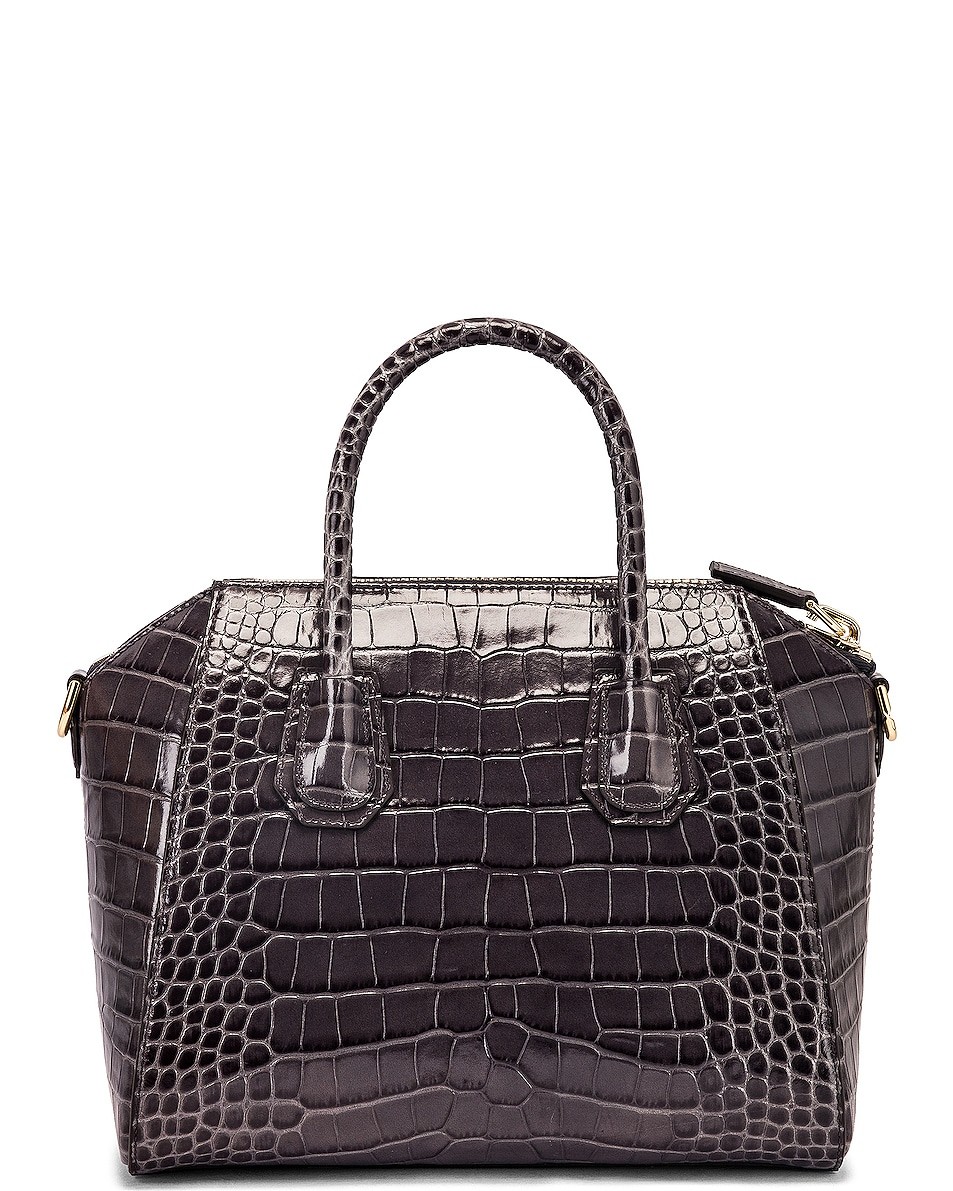 Image 3 of Givenchy Small Crocodile Embossed Antigona in Storm Grey