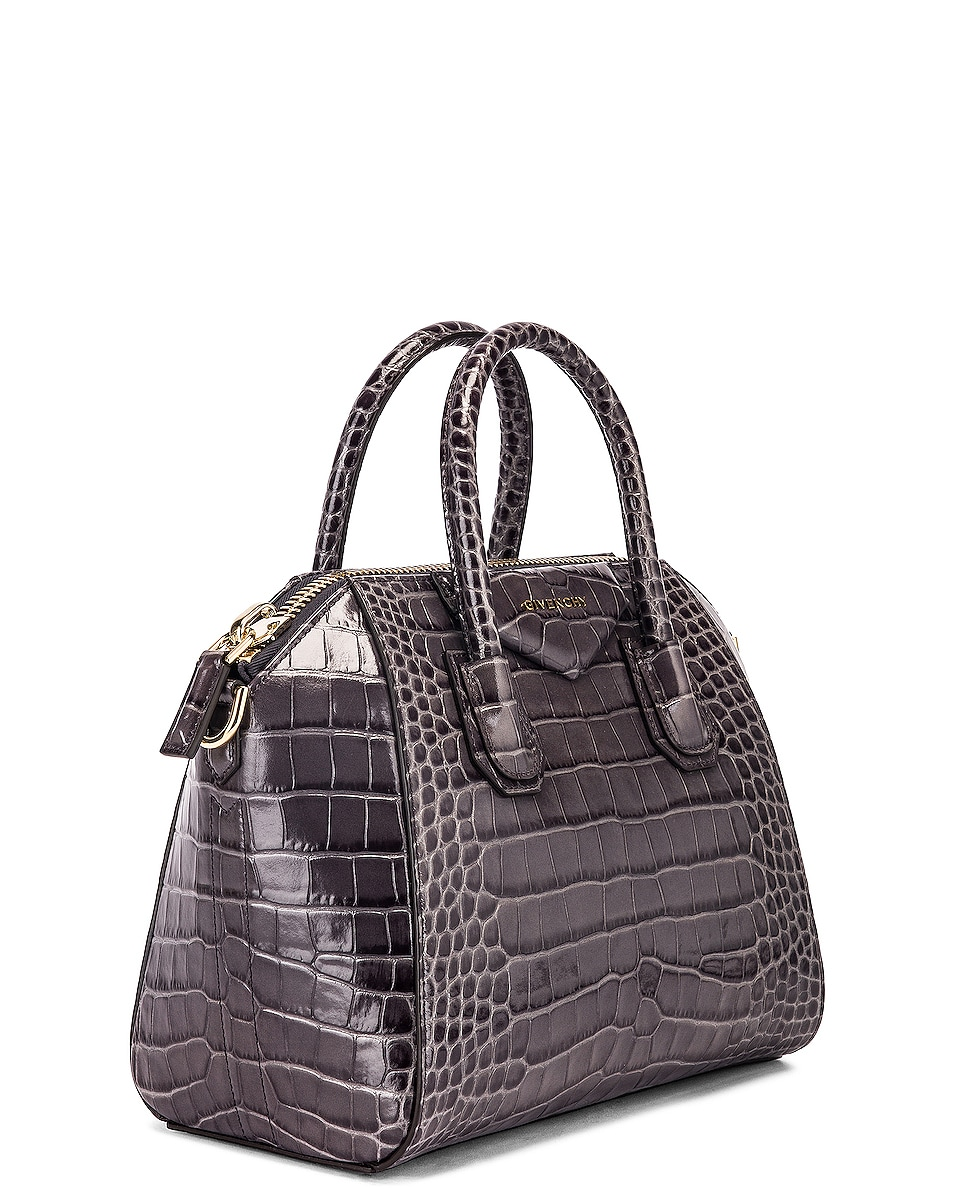 Image 4 of Givenchy Small Crocodile Embossed Antigona in Storm Grey