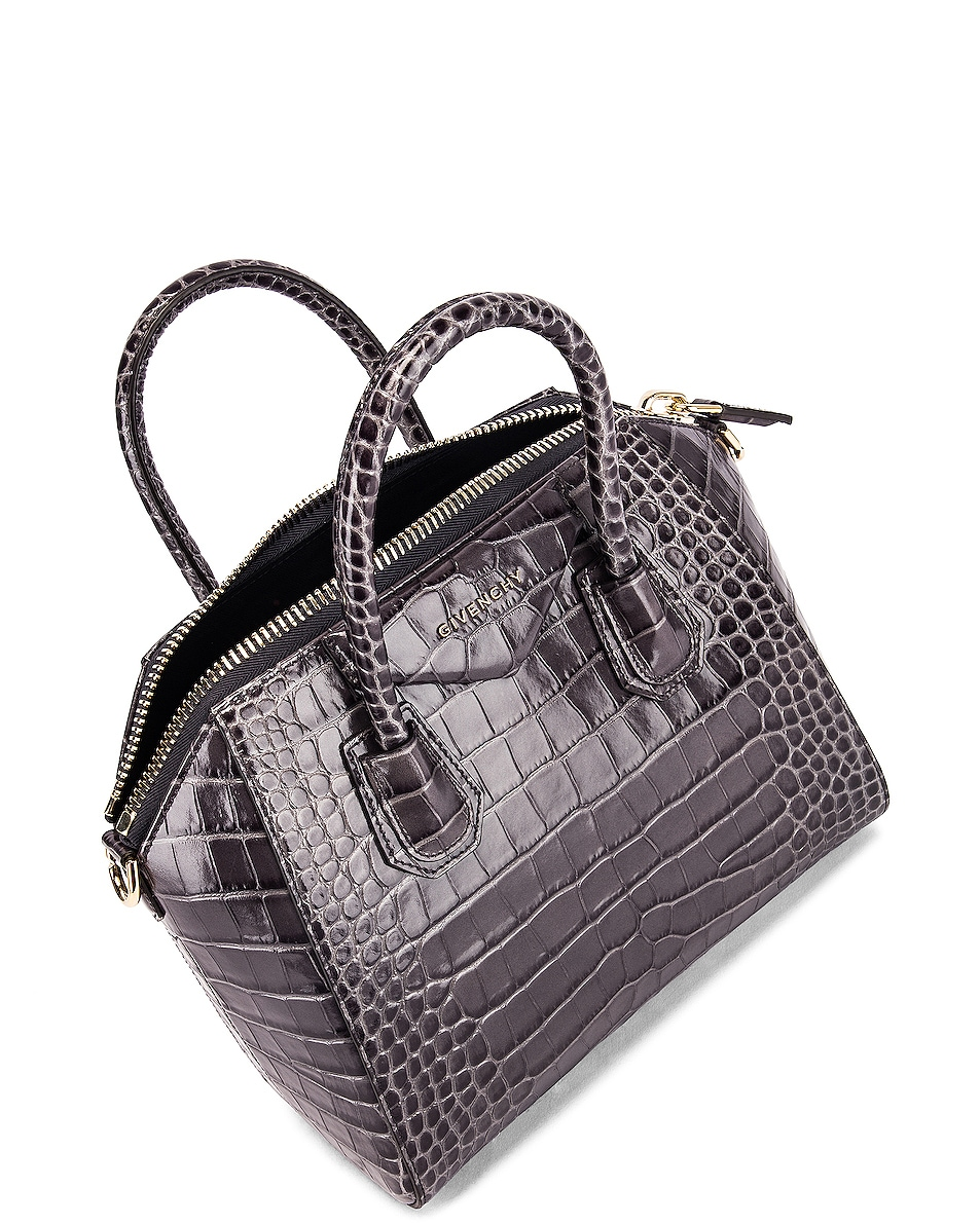 Image 5 of Givenchy Small Crocodile Embossed Antigona in Storm Grey