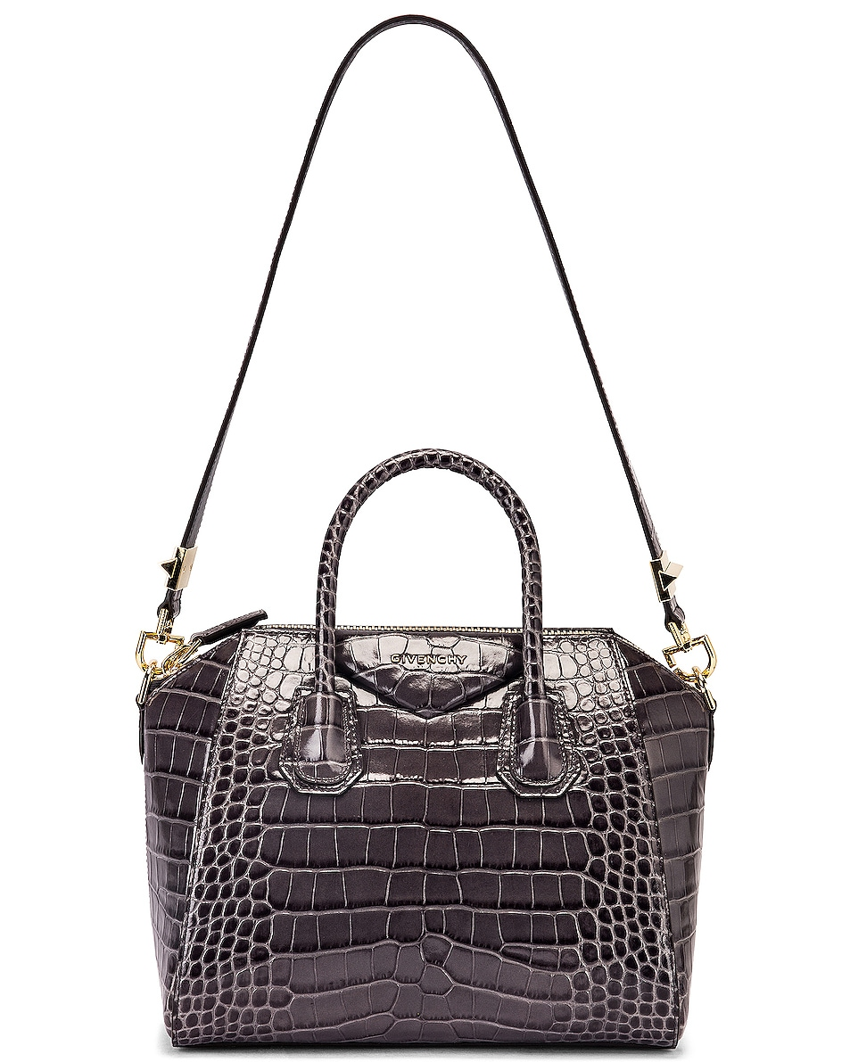Image 6 of Givenchy Small Crocodile Embossed Antigona in Storm Grey