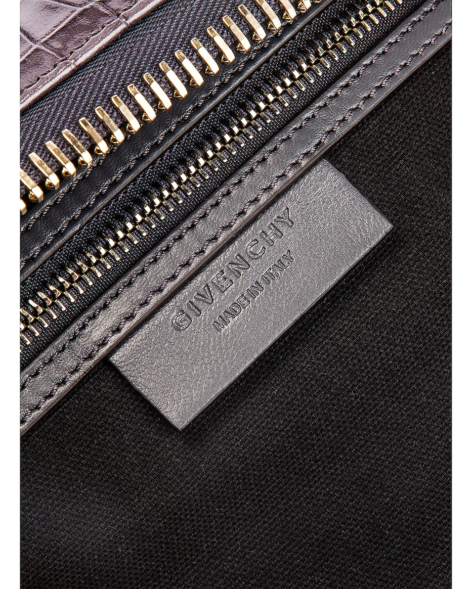 Image 7 of Givenchy Small Crocodile Embossed Antigona in Storm Grey