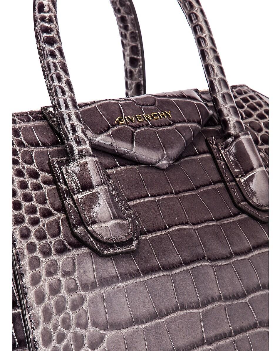 Image 8 of Givenchy Small Crocodile Embossed Antigona in Storm Grey