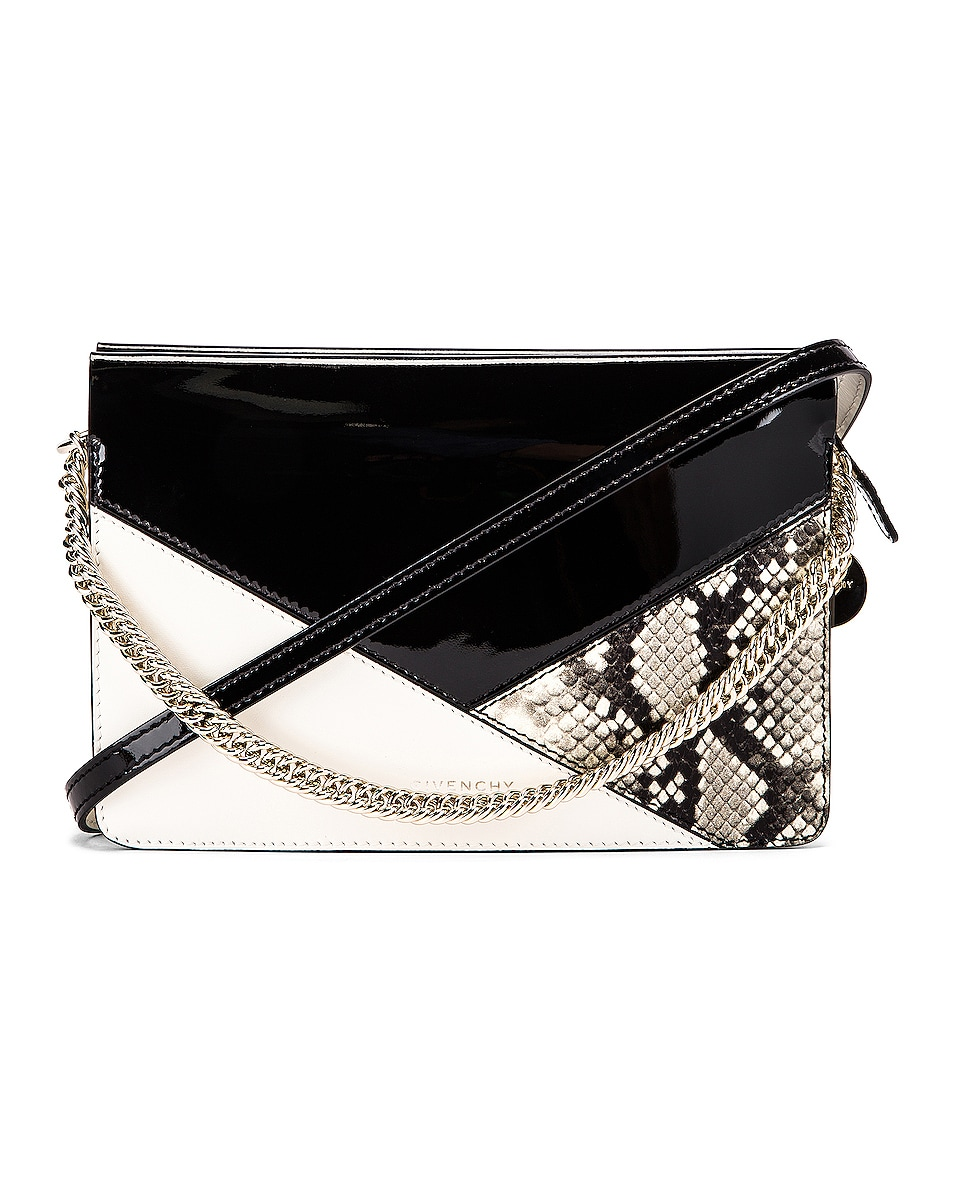 Image 1 of Givenchy Flat Mixed Leather Cross Bag in Black & White