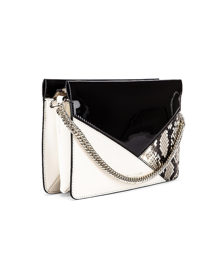 Image 4 of Givenchy Flat Mixed Leather Cross Bag in Black & White