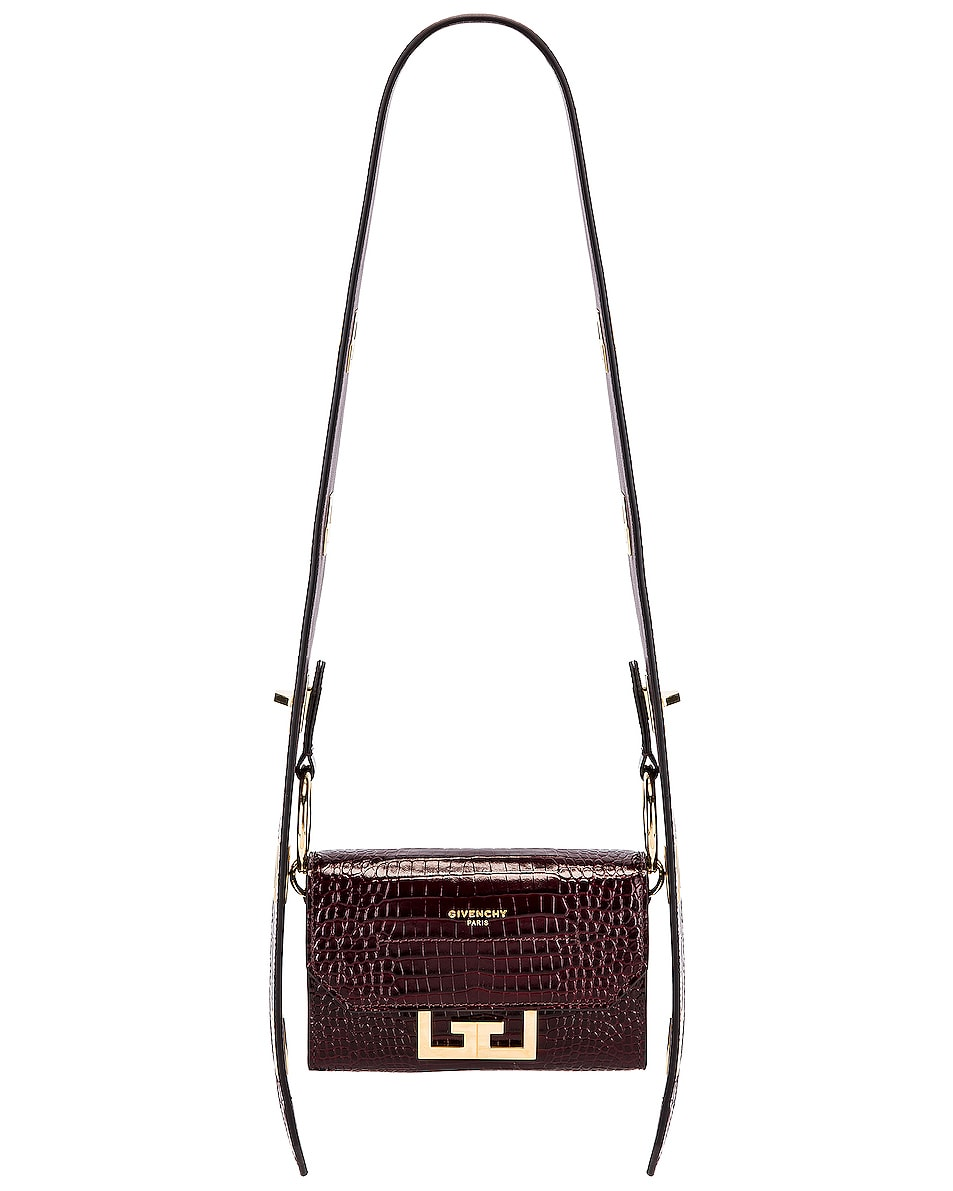 Image 1 of Givenchy Nano Eden Crocodile Embossed Leather Bag in Aubergine