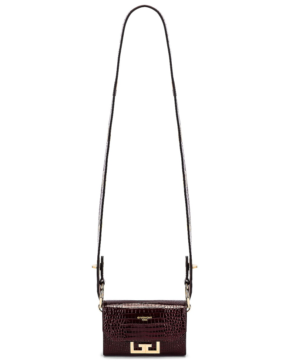 Image 7 of Givenchy Nano Eden Crocodile Embossed Leather Bag in Aubergine