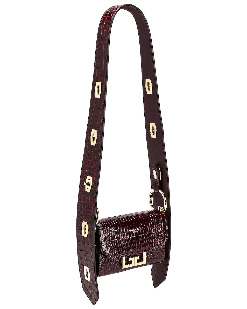 Image 3 of Givenchy Nano Eden Crocodile Embossed Leather Bag in Aubergine