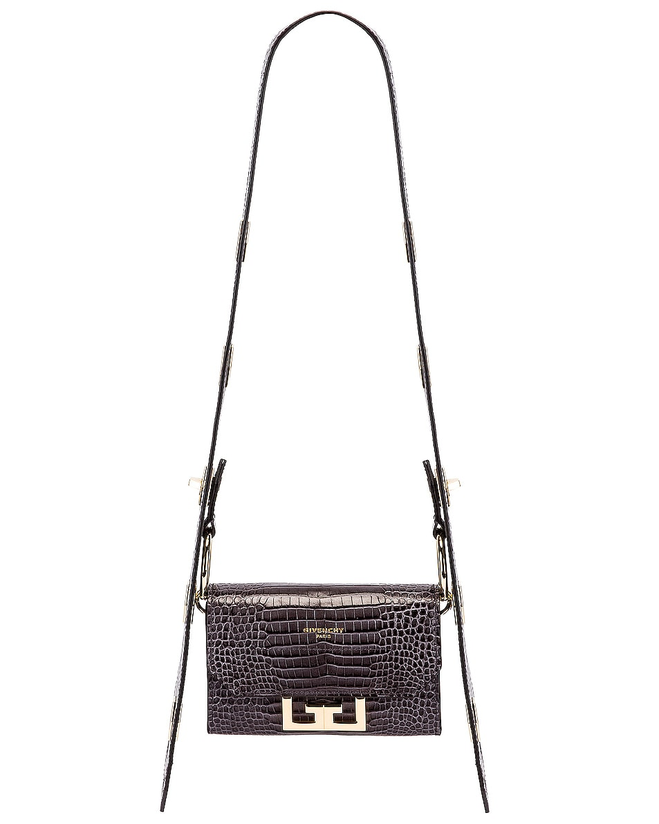 Image 1 of Givenchy Nano Eden Crocodile Embossed Leather Bag in Storm Grey