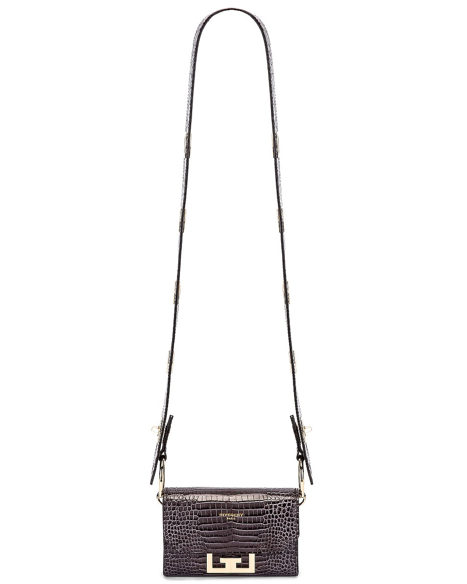 Image 5 of Givenchy Nano Eden Crocodile Embossed Leather Bag in Storm Grey