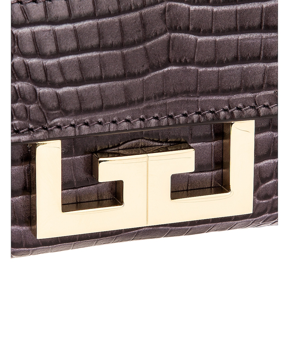Image 7 of Givenchy Nano Eden Crocodile Embossed Leather Bag in Storm Grey