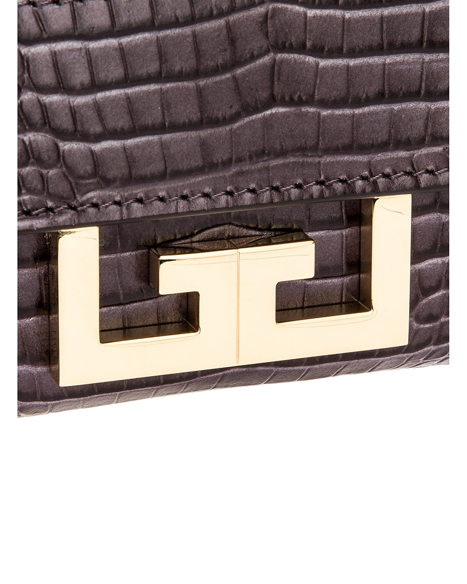 Image 8 of Givenchy Nano Eden Crocodile Embossed Leather Bag in Storm Grey