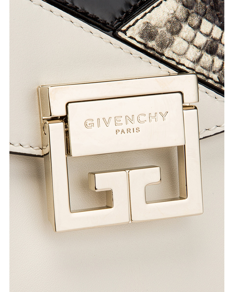Image 8 of Givenchy Small Mixed Leather GV3 in Black & White